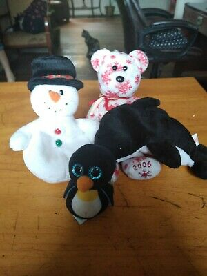 """TY BEANIE plush Toys lot of 3 with bonus 3"""" Waddles new with Tags., used for sale  Lakeland"""