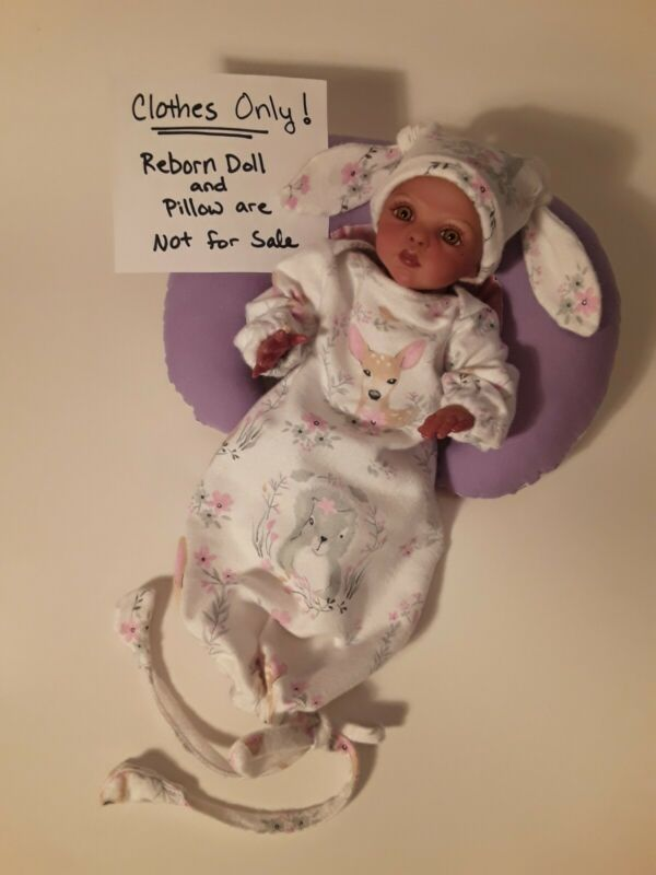 Mini Reborn Baby Sleep Gown and Cap Set. Created By Artist Michelle Crawford....