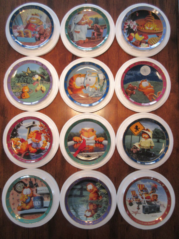 "*Set of 12* ""A Day with Garfield"" series porcelain plate collection - Jim Davis"