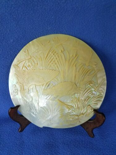 Dan Townsend Carved Large Mother of Pearl / Abalone Shell