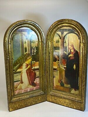 Italy Gold Accented Standing Decoupage of The Annunciation Decorative Wood