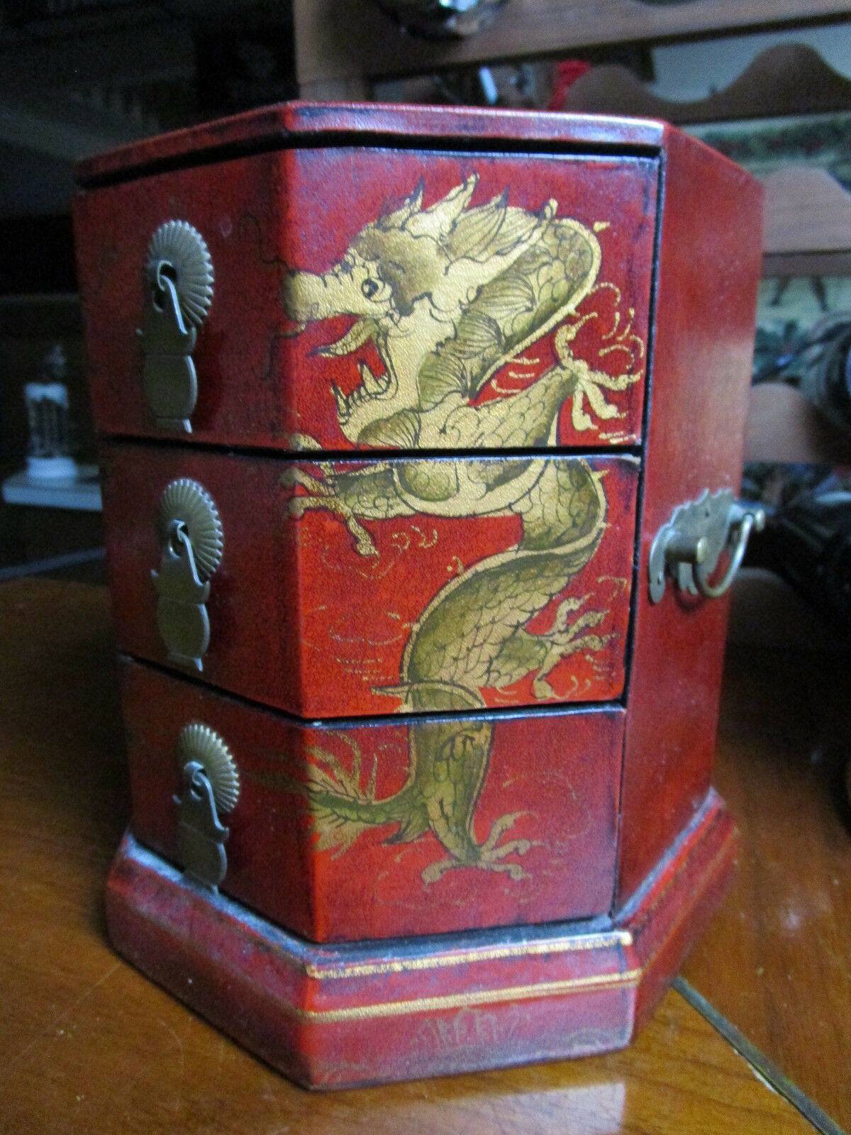Antique Chinese Jewelry Box golden dragons and 3 drawers brass