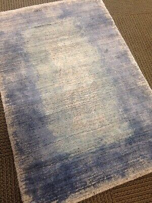 Spectacular Modern Hand Woven Area Rug / Gray Blue  2' X 3' Art Silk Pile A+ - Hand Woven Arts