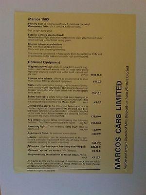 Marcos 1500 Price List