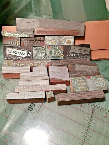 22 Vintage Advertising Printer Wood Ink Block