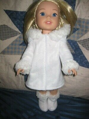 Wellie Wishers handmade doll clothes/hooded white coat/boots/fur trims
