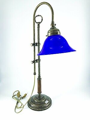 Lámpara de Mesa Oficina Ministerio de Latón Y Madera Con Vidrio Opalino...