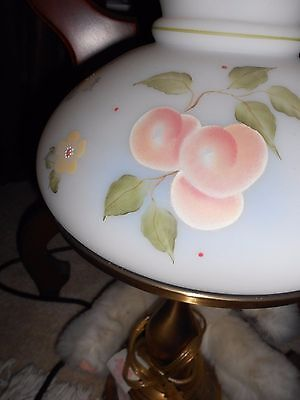Fenton Burmese lamp white with peach painted 22''tall used