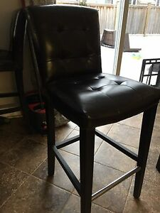 2 Bar height bar stools (espresso and faux leather)