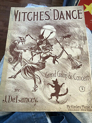 Halloween Musical Instruments (1909 Witches' Dance 9 X 12 Sheet Music J. DeLancey)