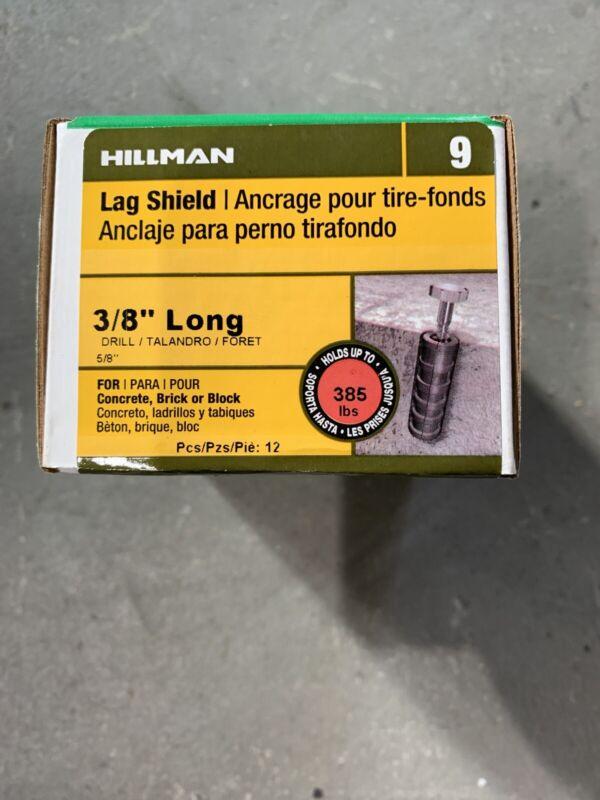 "Hillman 3/8"" Long Lag Shield Qty 12"