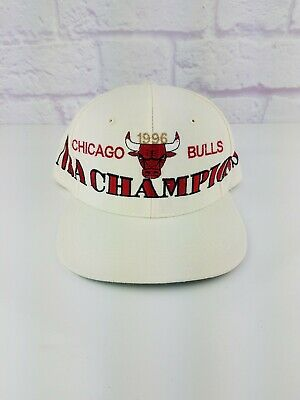 VINTAGE 1996 Chicago Bulls Championship Hat Cap Snapback NBA Jordan Pippen RARE