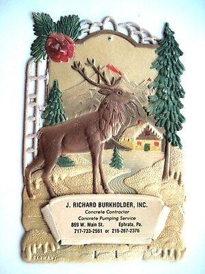 Charming Vintage Christmas German Pulp Advertising Calendar Topper w/ Large Elk* ()