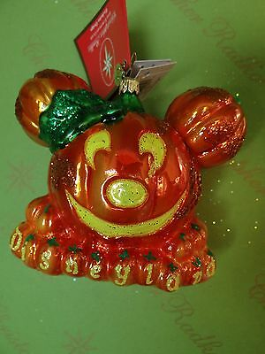 Christopher Radko Disney Halloween Mickey Mouse Pumpkin Glass Ornament