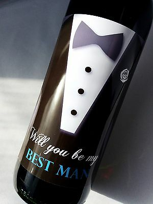 WILL YOU BE MY BEST MAN WINE WEDDING DAY BOTTLE LABEL