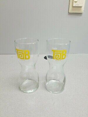 2 Vintage Enjoy Tab Soda Pop Glasses Hourglass Shaped Drinking Tumblers