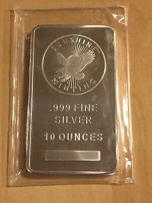 10 oz Sunshine Mint Flying Eagle .999 Silver Bar Security Marks & Foundry Sealed