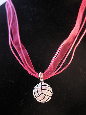 Volleyball Rhinestone Pendant Necklace - Ribbon Cord Blue Red Green Yellow White