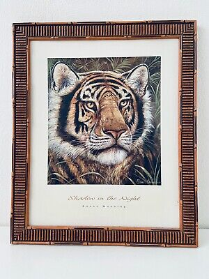 "Ruane Manning Canvas Print Painting Tiger Bamboo Frame Shadow of Night 23""X20"""