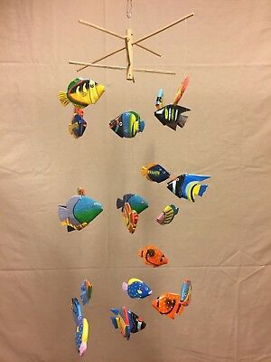 Folk Art Wooden Fish Mobile Handmade & Painted in Indonesia 27 Piece - Fish Mobile