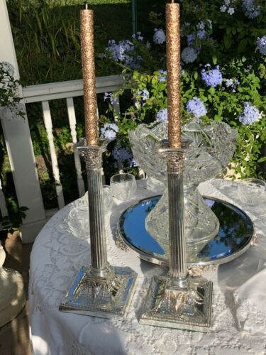 Pair of Antique English Silver Plate Candlesticks – WALKER & HALL