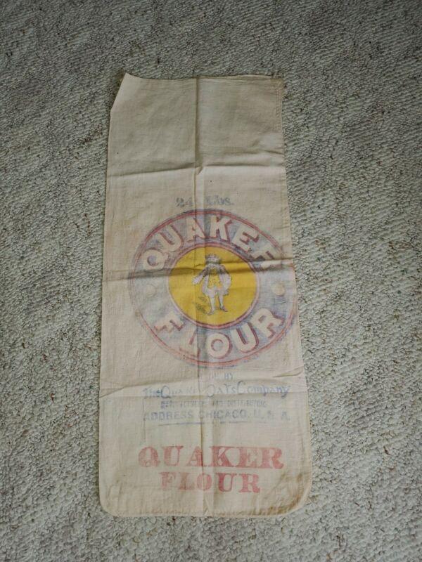 Rare Vintage 24 lbs. Quaker Oats Flour Sack Chicago