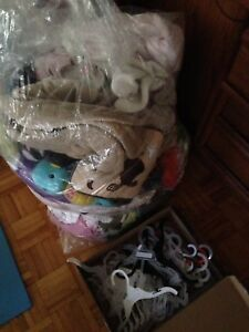 Huge bag of baby clothes, hangers & more