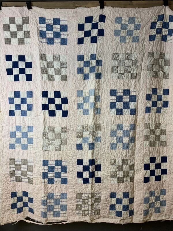 Antique Indigo Quilt Checkered