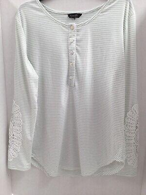 Amaryllis Womens Top Size XL boho jersey knit crochet lace trim tunic Stripe EUC