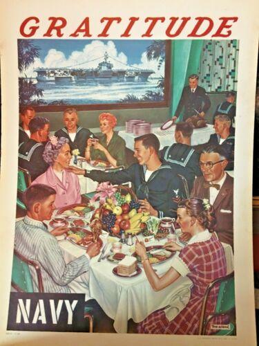 """1959 US Navy Poster - GRATITUTE NAVY 19"""" x 14"""" by Oliver Wendell (Tom) Schenk"""