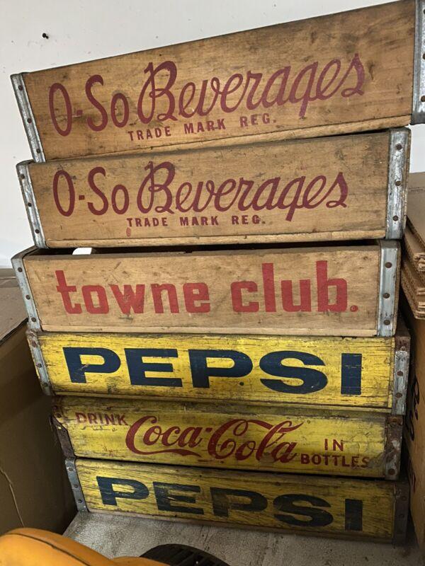 Vintage Towne Club PEPSI O.SO COCA COLA Beverages Soda Crates LOT OF 6
