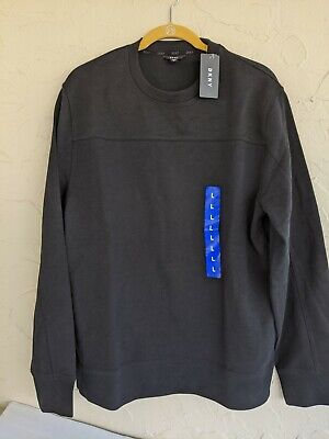 DKNY Men's Crew Neck Cotton Sweater Black - Large