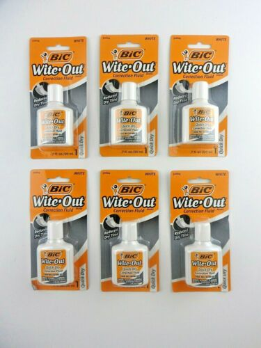 Bic Wite-Out (6 Total) Quick Dry Correction Fluid White 20ml Bottles Sealed New