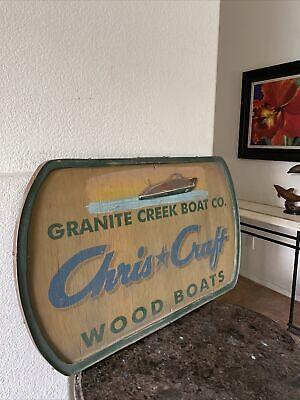 """Vintage Chris Craft Model Boat Mfg. """"Granite Creek Boat Co."""" Wooden Sign"""