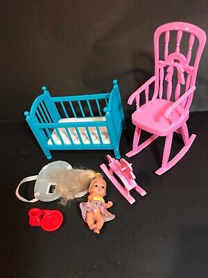 BARBIE Dollhouse PINK  ROCKING CHAIR FURNITURE for NURSERY  baby crissy