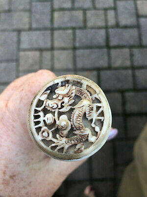 Incredible Rare Antique Soap Stone Intricately Carved Chinese Walking Stick/Cane