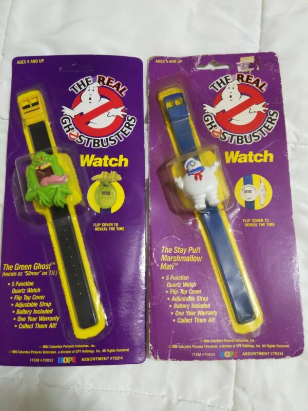 NEW The Real Ghostbusters 2pcs Vintage  Stay Puft Man and Slimer Watch 1989