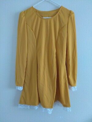 Kawaii Lolita Korean Fashion Mustard Yellow Long Sleeve Corset White Lace Dress](Yellow Corset)