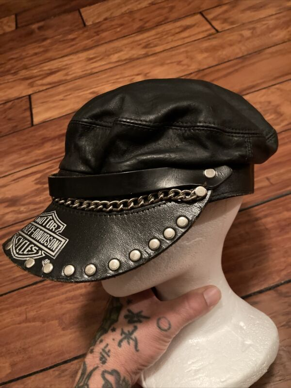 Vintage Harley Davidson Leather Captains Hat Chain Studs Adjustable Strap Mens