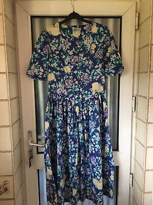 Vintage Laura Ashley Tea Dress Purple/Blue Floral size 14