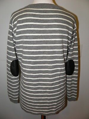J. Crew Gray Striped Leather Panel Swing Sweater Merino Wool Size Small