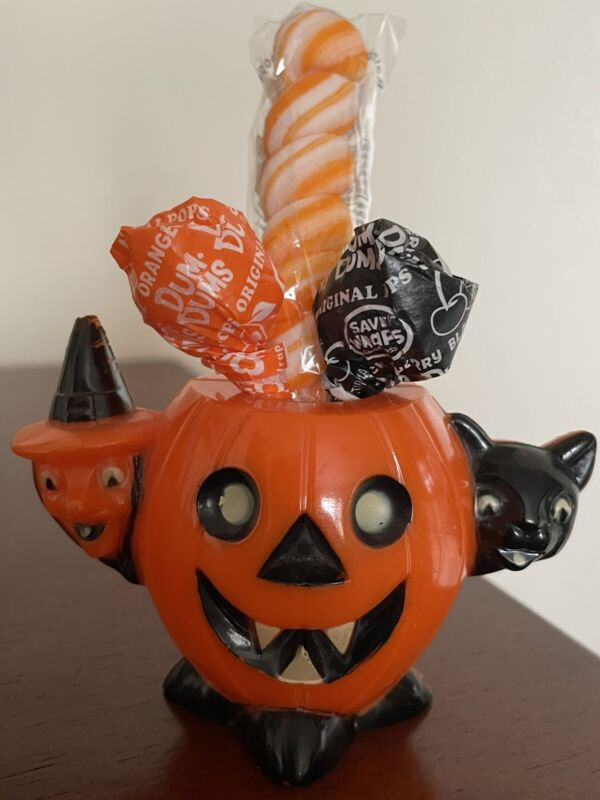 1950's Rosbro Vintage Traditional Halloween Candy Container Pumpkin Witch Cat