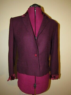 Vintage Valentino Jacket Burgundy Wool Saks Fifth Ave Size Small or 6