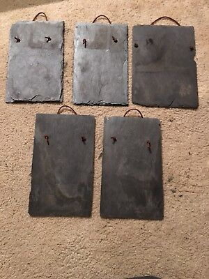 Slate Roof Shingles For Crafts 5 Pcs With Leather Hanger