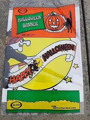 Vintage 1980s  Halloween Banner Decoration MIP old shop stock rare
