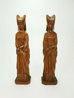 "18.9"" Pair of Vintage Oak Handsculpted Lady Statues E/0304"