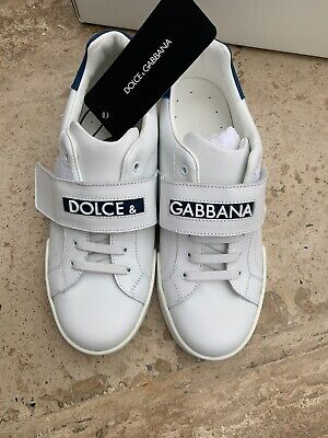 New Dolce & Gabbana unisex kids white and blue leather sneakers Size...