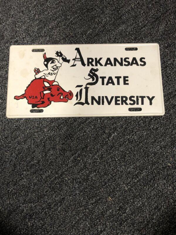 Vintage ASU Arkansas State University Indian Razorback  License Plate