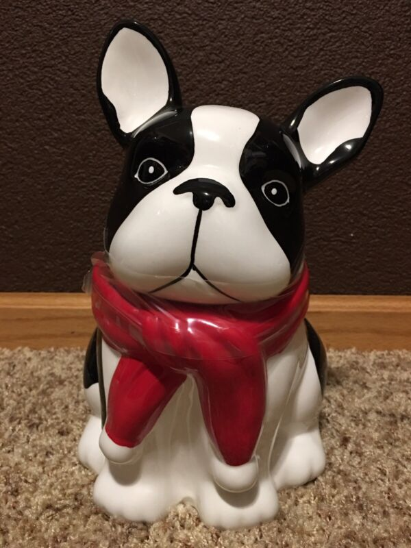 New*Boston Terrier 2-pc. Ceramic Cookie Jar*French Bulldog*Black & White