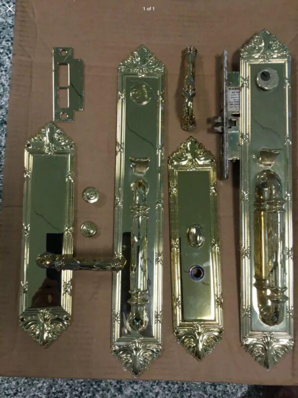 Baldwin Vintage Cast Brass Entrance Double Door Set W/ Mortise Lock